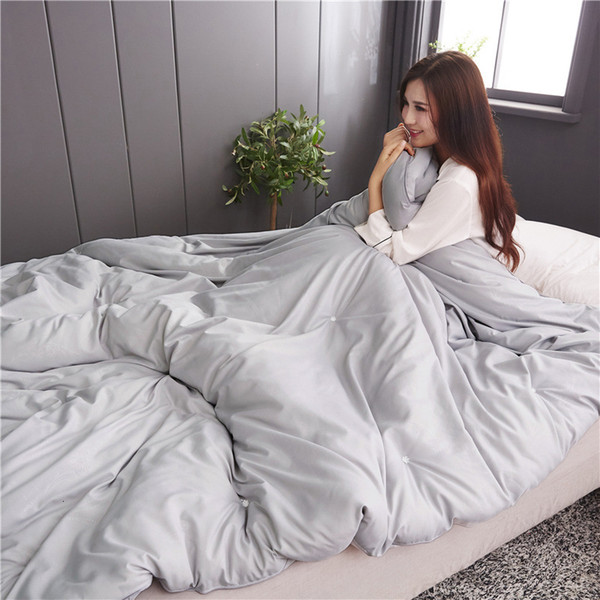 top popular 2021 New 100% Cotton Winter Blankets Silk Coverlet of the King's Queen in Real Size Gender Solid Color Clothing Input Crafts Flooding Eoredo 2021