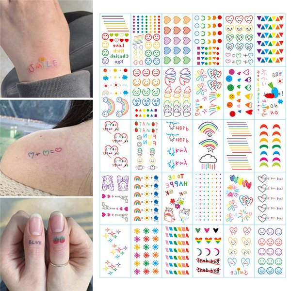 attoo & Body Art Temporary Tattoos HyunA ins series Colorful Rainbow Expression Tattoo Sticker Face hand Lovely Body Art Fake Tatoo T...