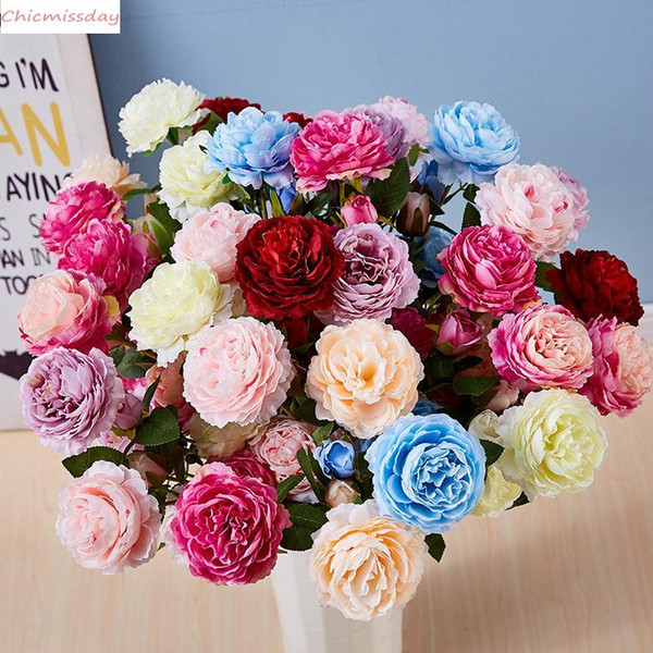 65cm 1 Bouquet 3 heads Artificial Flowers Peony Rose Autumn Silk Fake Flowers for DIY Living Room Home Garden Wedding Decorations XD24536