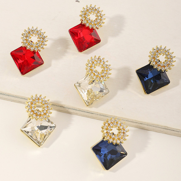 Ez3406 fashion accessories simple personality geometric square Diamond earrings female Follow the feeling and choose what you like at first sight.