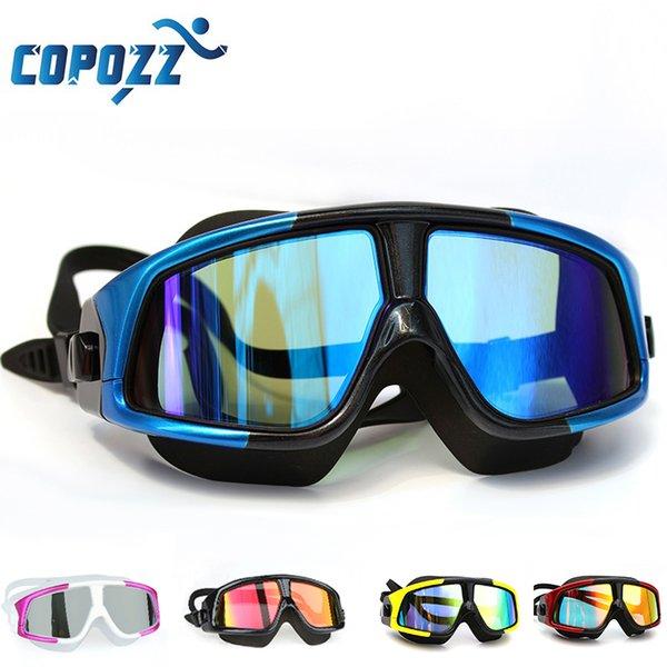 best selling COPOZZ Swimming Goggles Comfortable Silicone Large Frame Swim Glasses Anti-Fog UV Men Women Swim Mask Waterproof 210305