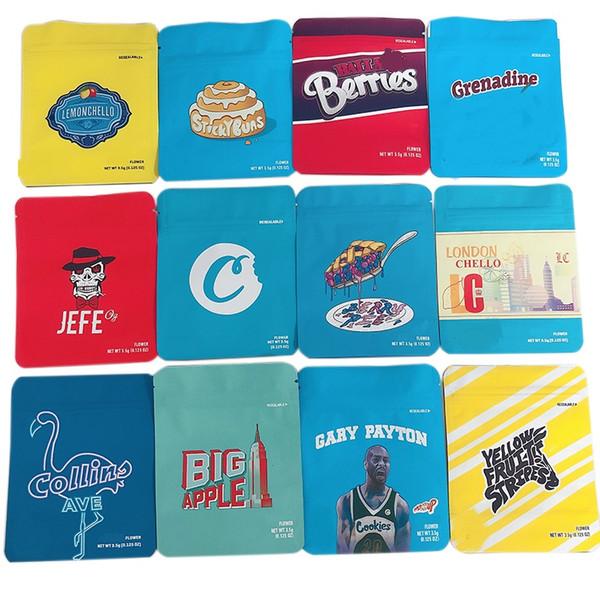 top popular 3.5G Cookies Bag 38 Designs Lychee Pineapple Runtz Childproof Mylar Packaging Cookies Bags With Stocking 2021