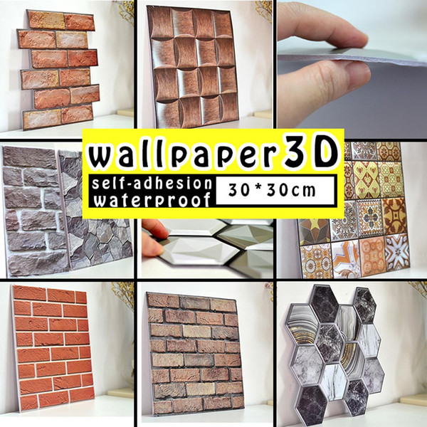 best selling 30*30cm 3D Wallpaper Stickers DIY Brick Stone Self Adhesive Waterproof Wall Paper Home Decor Kitchen Bathroom Living Room Tile Sticker Renovation