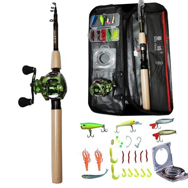 top popular 1.8m Casting Fishing Rod Combo and Reel Full Kit Baitcasting Fishing Reel Gear Pole Set 100M PE Line Lure Kit 2021