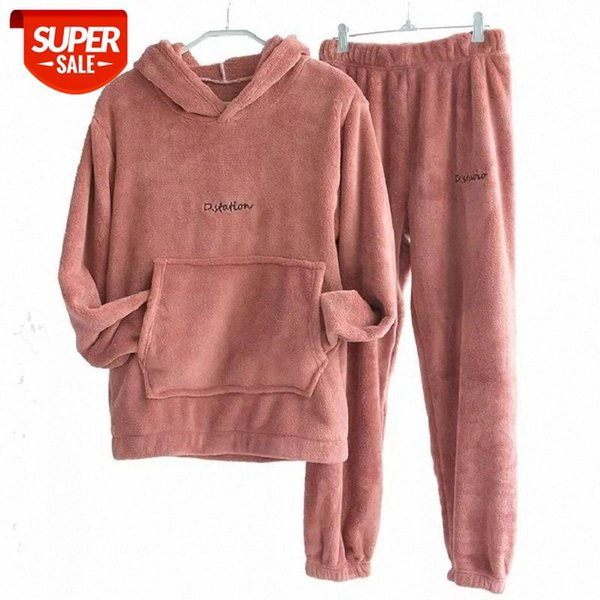 best selling 2 piece set women warm pants suit coral fleece 2020 new fashion plus velvet sweater casual autumn winter sports two-piece suit #d32t