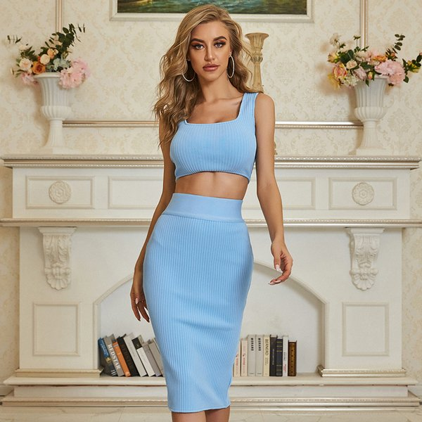 Adyce 2021 New Arrive Summer Women Bodycon Bandage Sets Sexy Blue Sleeveless 2 Two Pieces Sets Club Celebrity Party Sets Vestido