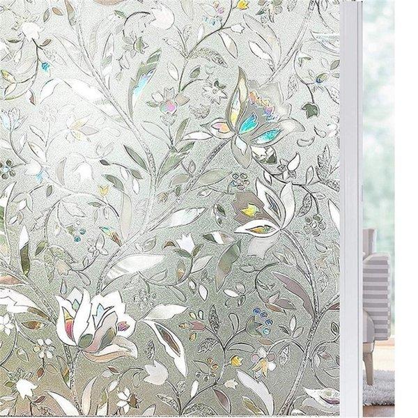 top popular Length 200cm Tulip Flower 3D Static Cling decorative Privacy etched Glass Window Film Vinyl No-Glue Static Decorative films Y200421 2021