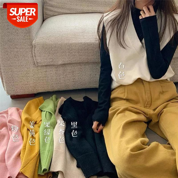 top popular winter Autumn women Sweater Vest Sleeveless Sweet Solid Color Loose Slim Vest Jumpers Pull Femme V Neck Knitted tops #cL6j 2021