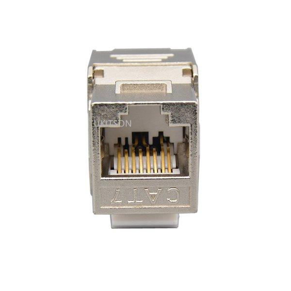 heap Extension Socket CAT7 RJ45 Keystone Shielded Slot FTP Zinc Alloy Module Connector LAN Network Insert Tool-Free Coupler For 10GB Inte...