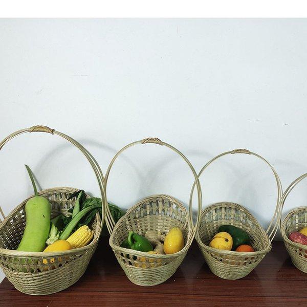best selling On Stock Wholesale Bamboo Products Handmade Bamboo Woven Ingot Basket Woven Picking Storage Basket Shopping Farm Egg Basket