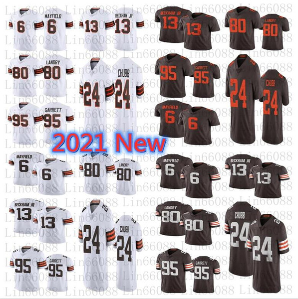 top popular 2021 New Men 13 Odell Beckham Jr 6 Baker Mayfield 95 Myles Garrett Landry 24 Nick Chubb 80 Jarvis Landry 75TH jersey 2021
