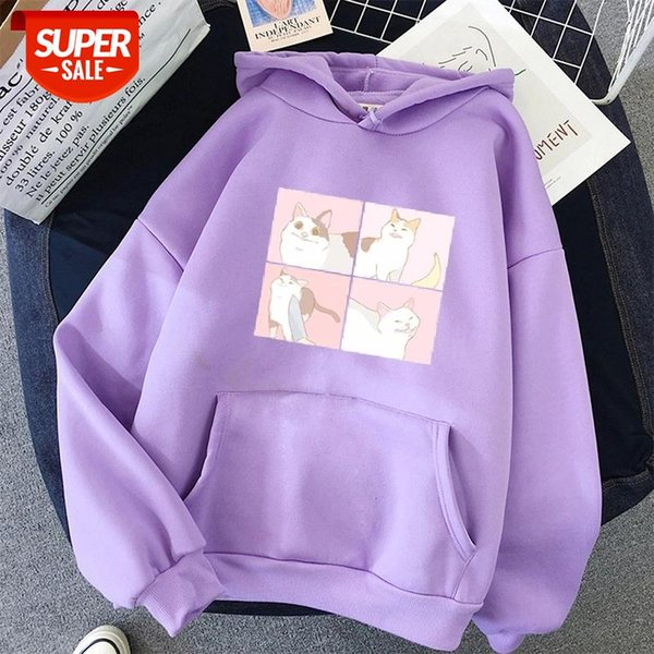best selling oversized Cute Cat Print Hoodies pullover harajuku Sweatshirt Kawaii Hoody Itself Women's tops clothes pink Korean style #NP7b