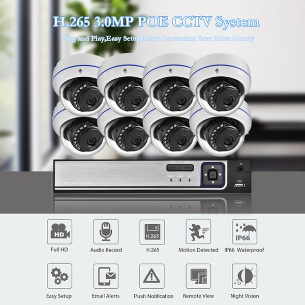 Urveillance sistemi Azishn Patlamaya dayanıklı H.265 8CH 3MP POE Güvenlik Kamera Sistemi NVR Kiti Ses IP Kamera Kapalı Açık CCTV Surveillan ...