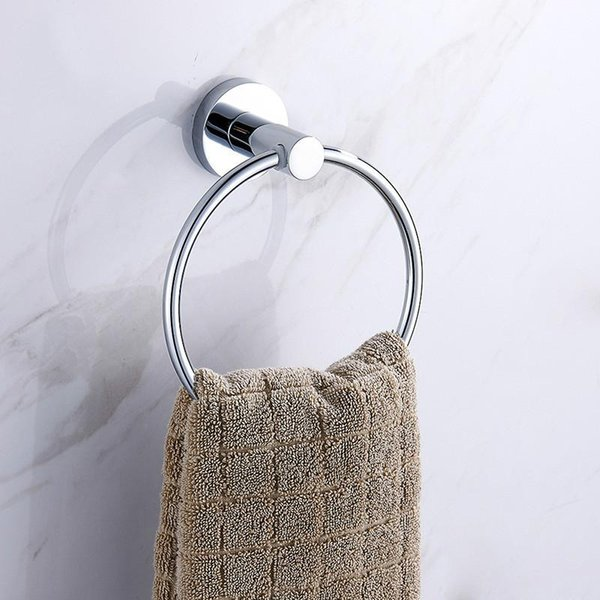 top popular Bathroom AccessoriesTowel Holder Towel Ring Round Wall Mounted White Towel Rack Shelf 2021