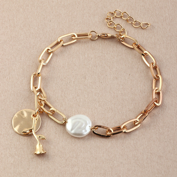 Bz1033 fashion accessories cool style metal chain versatile personality round Rose Bracelet Follow the feeling and choose what you like at first sight.