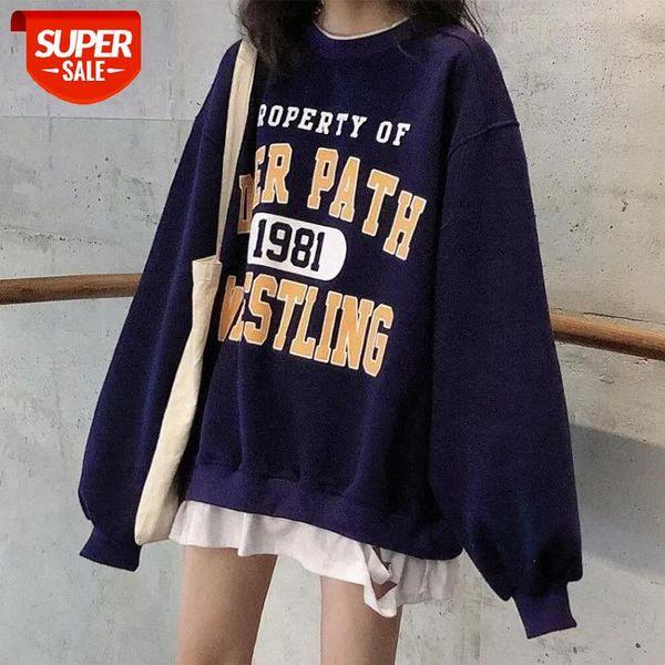 best selling oversized sweatshirts Harajuku Clothing For Women Casual Loose Vintage Letter Sweatshirt Female Korean style Kawaii Women's tops #LY0X