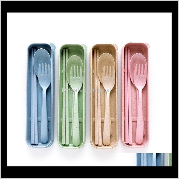 top popular Nordic Style Wheatstraw Portable Tableware Travel Dinnerware Eco-Friendly Dinner Set Environmental Case Fork Spoon Set Cutlery Kqjv0 Xwizq 2021