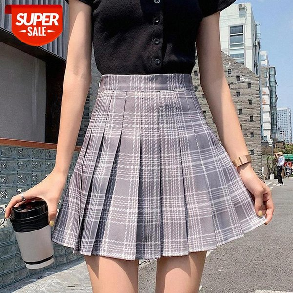 top popular 2020 oversize Womens Skirt Summer Girl Sexy Lovely Plus Size Pleated Folds Patchwork Plaid Essential For female MINI Pink #ls7O 2021