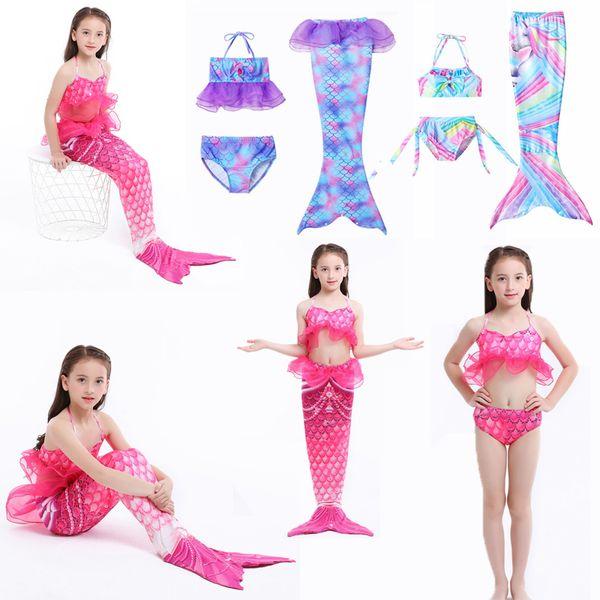 top popular Girls Cosplay Swimsuit 3pcs Mermaid Tail swimwear kids mermaid Swim pool Cosplay Bathing Suit girls Mermaid Princess party Cosplay Costumes 2021