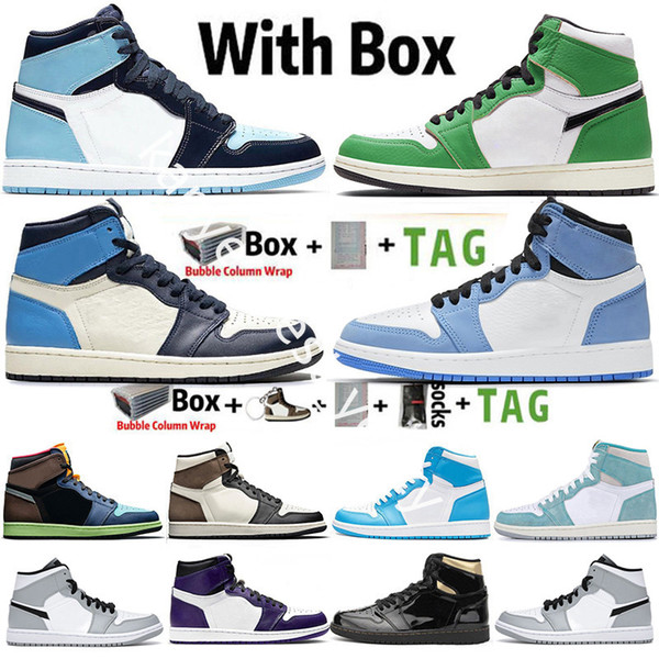 top popular With Box Jumpman 1 1s Mens Basketball Shoes Obsidian UNC Twist Lucky Green Dark Mocha Chicago University Blue Sneakers Trainers Size 36-47 2021