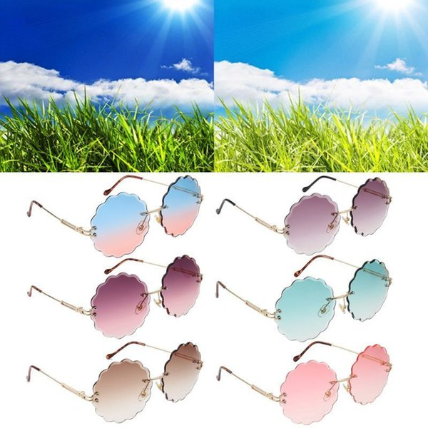 best selling Fashion Women Sunglasses Frameless Flower Shape Lens Personality Sunshade Mirror Street Photography Props Glasses Jewelry Gifts