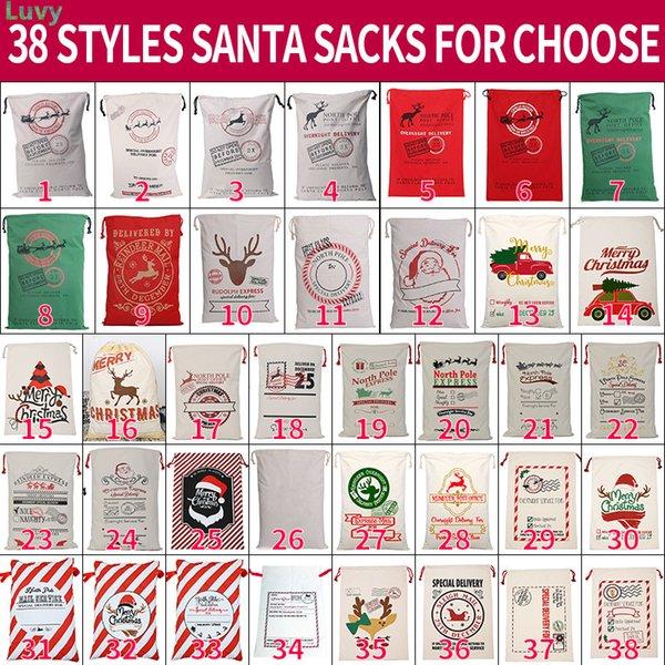 top popular Christmas Santa Sacks Large Santa Gift Bag Drawstring Xmas Cotton Bag Stripe Canvas Candy Bags Wholesale 2021