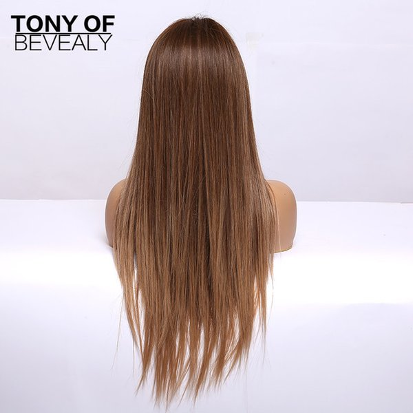 Hair Synthetic (For Black) Long Straight Brown Ombre Natural Hair Wigs Middle Part Heat Resistant Synthetic Wigs for Afro Women Daily