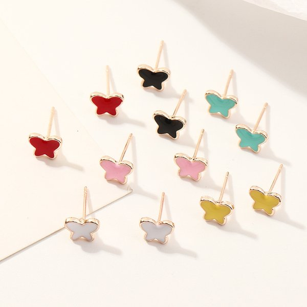 Ez3442 fashion accessories: lovely candy color alloy oil dripping Butterfly Earrings Earring Set Follow the feeling and choose what you like at first sight.
