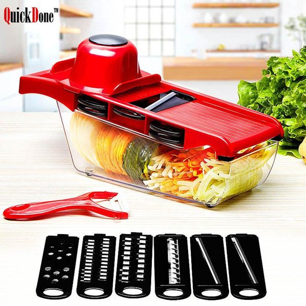 best selling Christmas party mandolin slicer vegetable knife and tool stainless steel blade kitchen fruit manual potato peeler carrot shredder dicing machine six functions