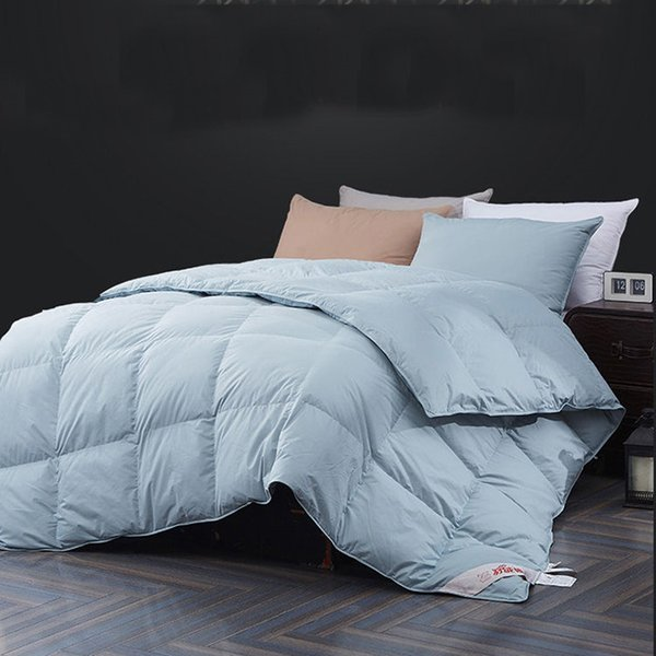 top popular 2021 New Luxury Duck goose Down Quilted Double Quilt Single Queen Supper King Size Comforter Winter Blanket Solid Color Flm7 2021