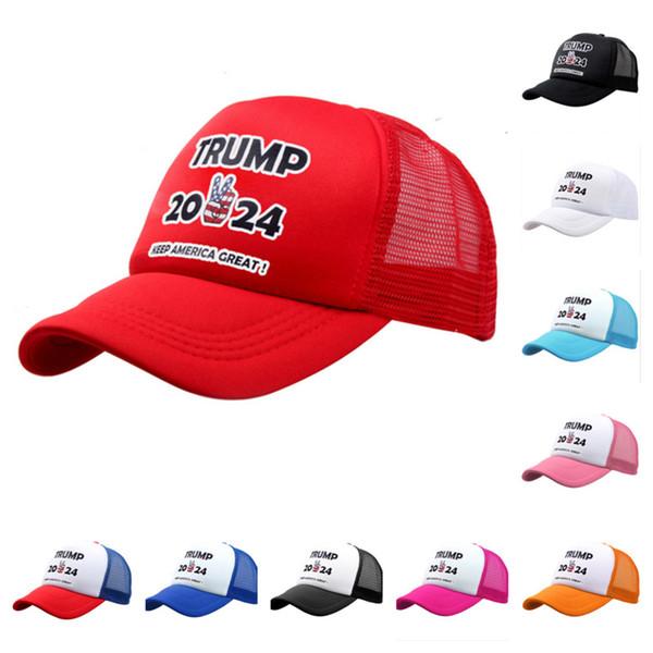 top popular 2024 Trump Baseball Cap USA Presidential Election Mesh Snapback TRMUP style Hat keep America GREAT men women Ponytail Ball Cap G3201 2021