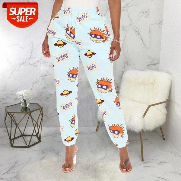 top popular BiggOrange cute print sweat pants women 2020 winter fall clothes female streetwear baggy high waist loose trousers joggers pants #km9m 2021