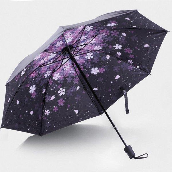 Cherry Blossom Pequeño paraguas negro