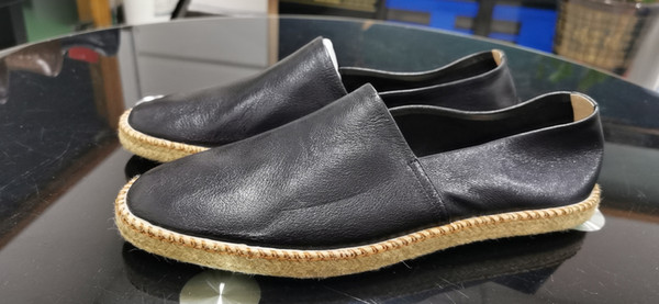 top popular newest sandal slipper Lambskin men's shoes driver's travel shoes hemp rope full edge, rubber non-slip wear-resistant sole, high-end comfor 2021