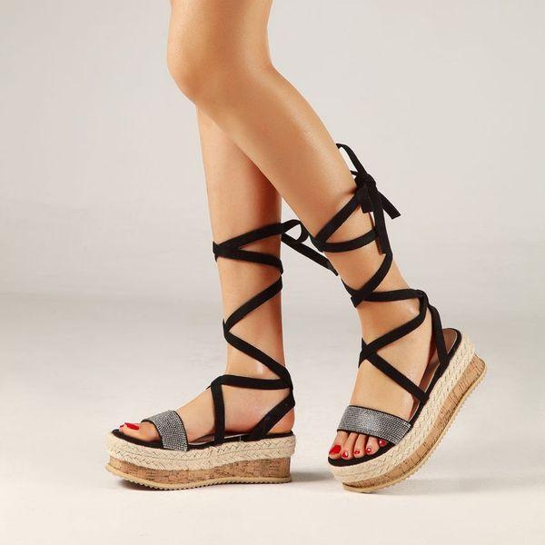 Women Gladiator Sandals Summer Ankle Strap Sandals Cross-tied Platform Sandals Lace-up Hemp Ladies Casual Shoes Woman