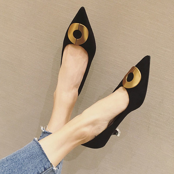 2021 Spring Woman Shoes Pointed Toe High Heels Round Metal Boat Shoes Pointed Toe Dress Shoes Women Office Lady Shoe Black 8003NDress