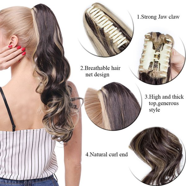 heap Synthetic Ponytails S-noilite Big Grab Claw Clip In Ponytail Hair Extension Syntheitc Ponytail Extension Hair Fake Hairpiece For Wom...