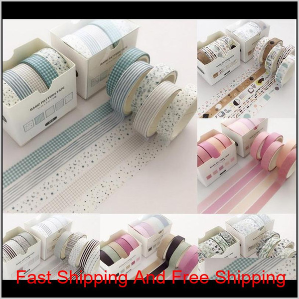 best selling 5 Pcs Pack Grid Creative Colorful Decorative Adhesive Tape Masking Washi Tape Scrapbooking Sticker Label School Office Supply 2016 Prv Hfzwg