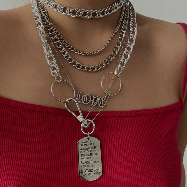 Jewelry punk locomotive carved letter indifference pin geometric Tag necklace Follow the feeling and choose what you like at first sight.
