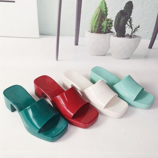 top popular Fashion Womens Sandals Designer Luxury Slippers Slide Candy Color High Heels Rubber Sandal Slipper Jelly Shoes Boots Flip Flop Heatshoes 2021
