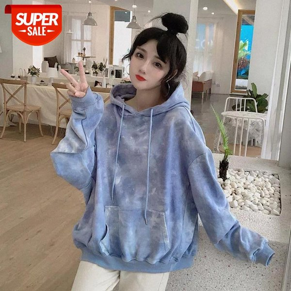 top popular Multicolor Tie Dye Sweatshirt women clothes tops Hoodies Pockets Long Sleeve Drawstring Trendy Korean Style Causal Loose Hooded #oC6o 2021