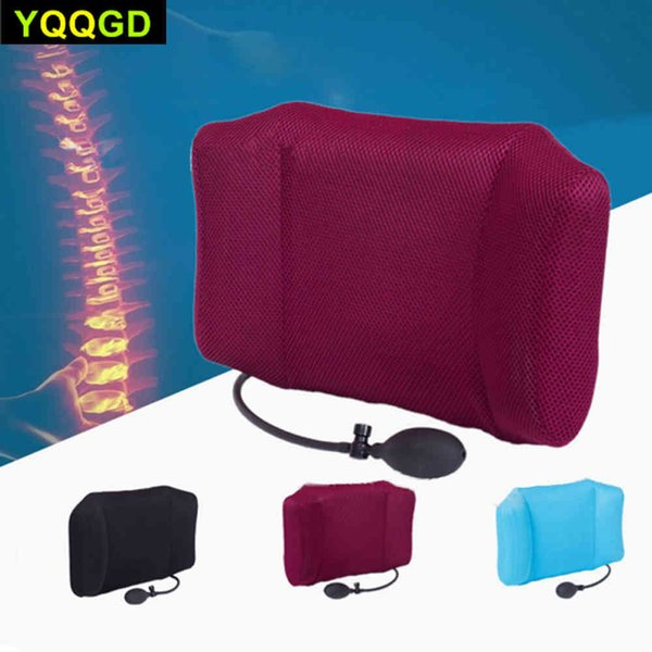 top popular 1Pcs Portable Inflatable Lumbar Support Lower Back Cushion Pillow - for Office Chair and Car Sciatic Nerve Pain Relief 2021