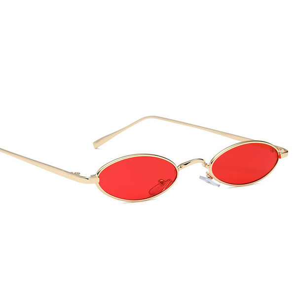 best selling 2020 Retro Small Oval Sunglasses Women Vintage Brand Shades Black Red Metal Color Sun Glasses for Female Fashion Designer Gift