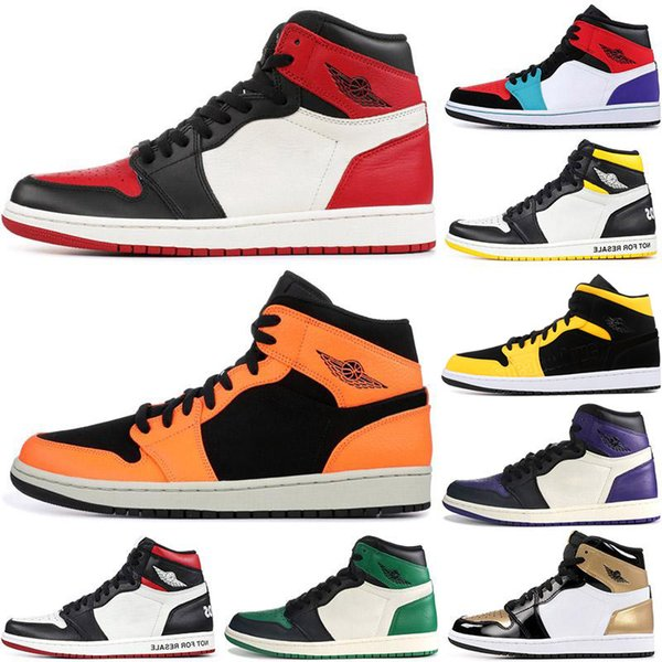 best selling 2021 1 High 1s Jumpman shoes twist mid chicago royal toe triple white UNC Patent SE multi-color purple aqua mens womens sneakers