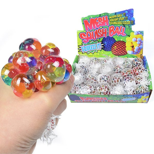 top popular 5CM Colorful Mesh Squishy Grape Ball Fidget Toy Anti Stress Venting Balls Squeeze Toys Decompression Anxiety Reliever 2021