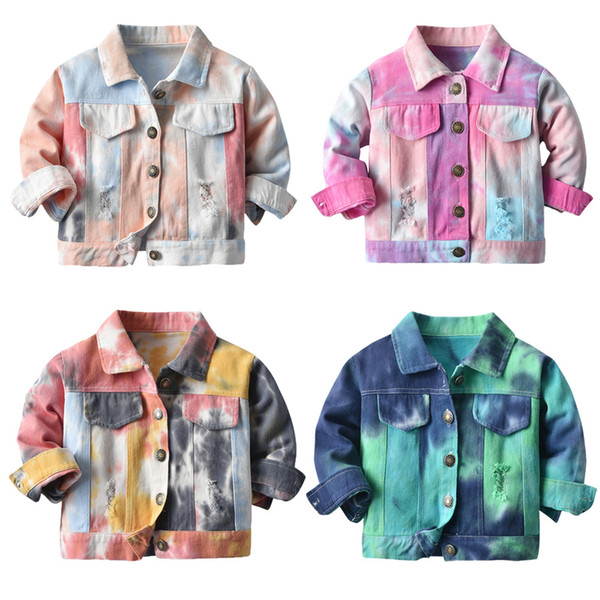 best selling Wholesale INS Baby Kids Boys Jeans Jackets Tie Dyed Denim Coat Fashions Spring Autumn Children Unisex Girls Outwear Streetwear for 0-10T