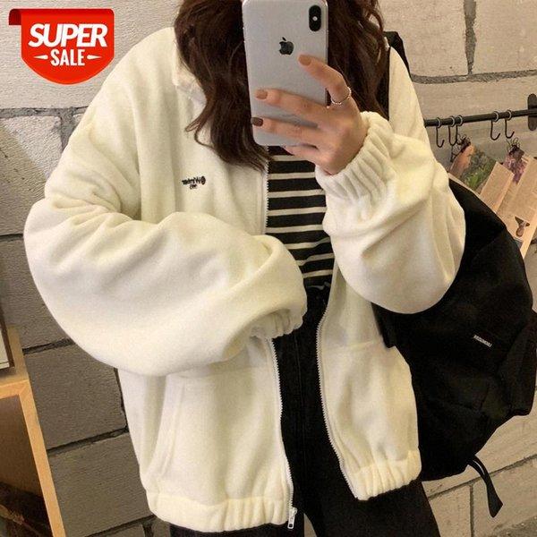 top popular Zip-up Hoodie Women Loose Plus Velvet sweatshirt Pockets Letter Casual Oversized Harajuku Streetwear Womens tops clothes Trendy #t40F 2021