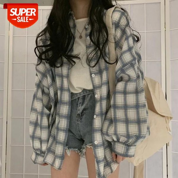 best selling plus size Turn Down Collar White Shirt Button Up Casual Tops Oversized New Arrival Women Vintage Plaid Blouse Lantern Sleeve #4L8k