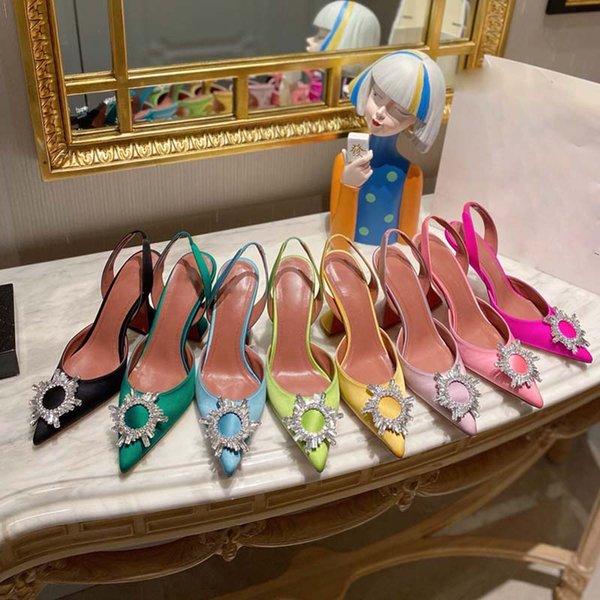 top popular Designer womens sandals high heeled shoes pointed toesl sunflower crysta buckle sandal summer footwear fashion 10cm heel back strap genuine leather sole women shoe 2021