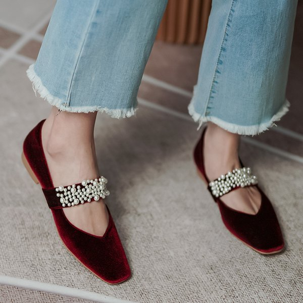 Womens velvet beading band square toe slip-on mary jane ballet flats leisure soft comfortable ballerinas casual daily shoes hotDress Shoes